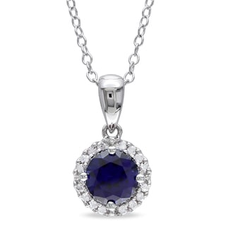Miadora Sterling Silver Created Blue Sapphire and 1/10ct TDW Diamond Necklace (H-I, I2-I3)