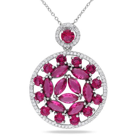 Miadora Sterling Silver White and Red Cubic Zirconia Medallion Necklace