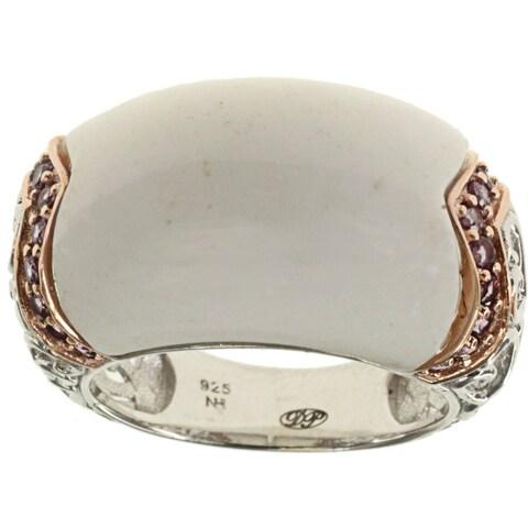 Dallas Prince Sterling Silver White Agate Rhodolite Ring