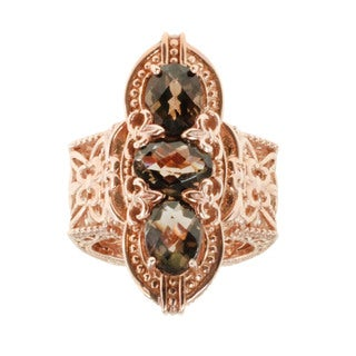 Dallas Prince Rose Gold Over SIlver Smokey Quartz Ring
