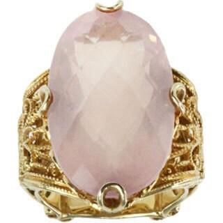 Dallas Prince Sterling Silver Rose Quartz Filigree Ring
