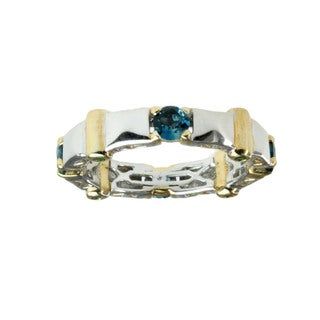 Michael Valitutti London Blue Topaz And Chrome Diopside Men's Ring