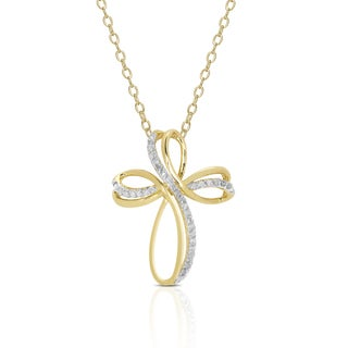 Finesque Gold Over Sterling Silver 1/4ct TDW Diamond Cross Necklace (I-J, I2-I3)