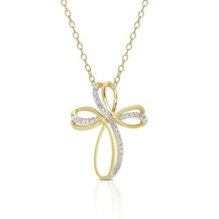 Finesque Gold Over Sterling Silver 3/8ct TDW Diamond Cross Pendant Necklace