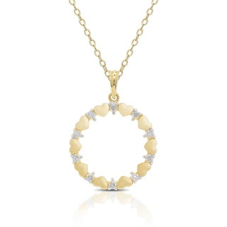 Finesque Gold Over Sterling Silver Diamond Accent Circle Necklace