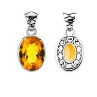 Handmade .925 Sterling Silver Bali Faceted Oval Citrine Pendant (Indonesia)