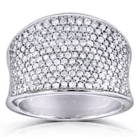 Annello 10k White Gold 1 1/ 4ct TDW Pave Diamond Ring (H-I, I1-I2)