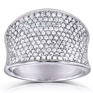 Annello 10k White Gold 1 1/ 4ct TDW Pave Diamond Ring (H-I, I1-I2)