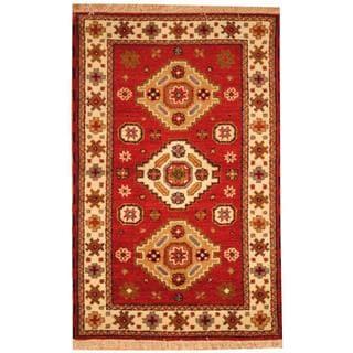 Herat Oriental Indo Hand-knotted Tribal Kazak Red/ Ivory Wool Rug (3' x 5')