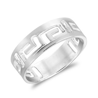 Meander Greek Key Style Band .925 Silver Ring (Thailand)