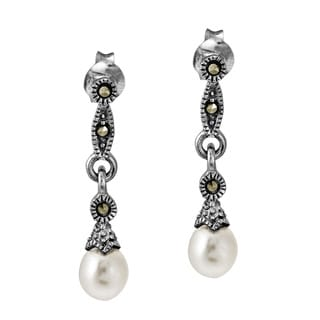 Vintage Links Freshwater Pearl Drop .925 Silver Earrings (Thailand)