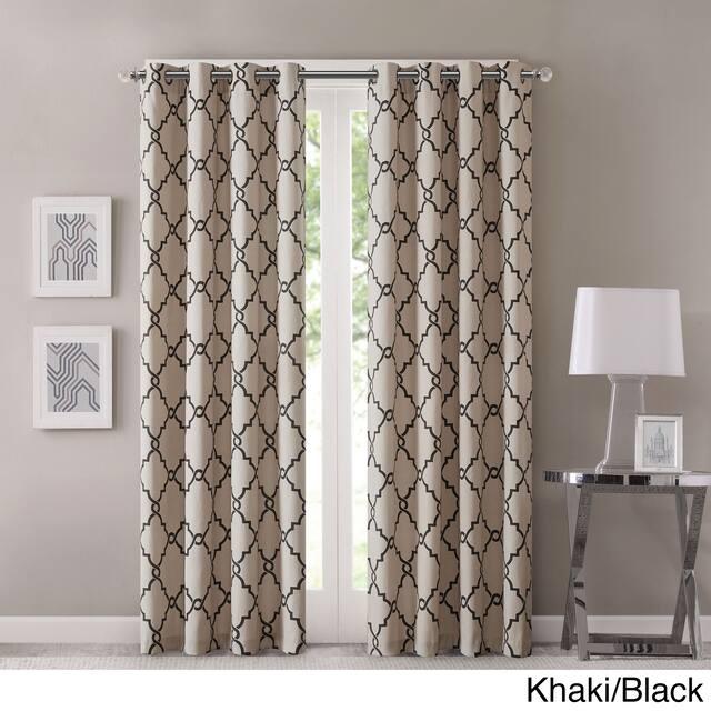 "Madison Park Westmont Fretwork Print Pattern Single Curtain Panel - 50""W X 84""L - Khaki"