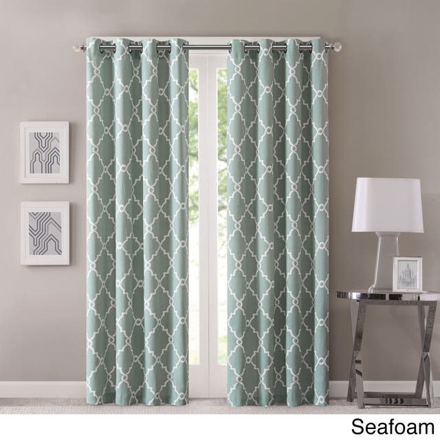 "Madison Park Westmont Fretwork Print Pattern Single Curtain Panel - 50""W X 84""L - Seafoam"
