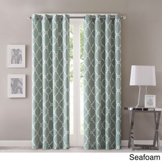 Madison Park Westmont Fretwork Print Pattern Single Curtain Panel (50W X 95L - Seafoam)