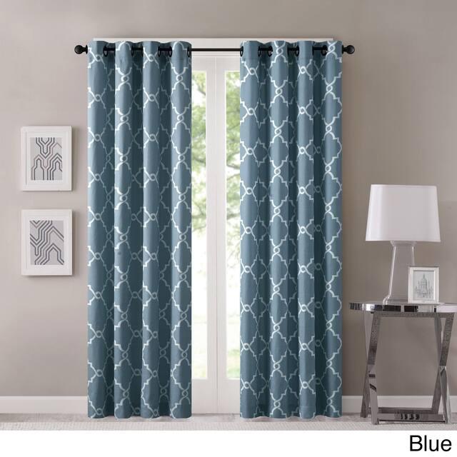 "Madison Park Westmont Fretwork Print Pattern Single Curtain Panel - 50""W X 95""L - Blue"