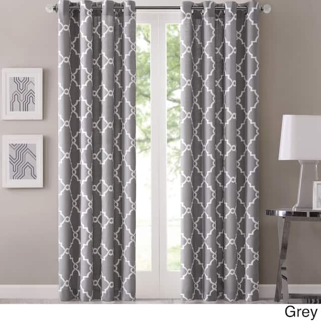 "Madison Park Westmont Fretwork Print Pattern Single Curtain Panel - 50""W X 95""L - Grey"