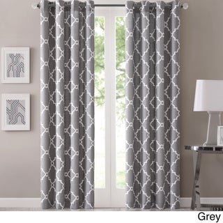Madison Park Westmont Fretwork Print Pattern Single Curtain Panel (50W x 63L - Grey)