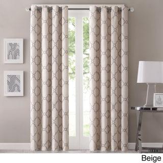 Madison Park Westmont Fretwork Print Pattern Single Curtain Panel (50W X 84L - Beige)