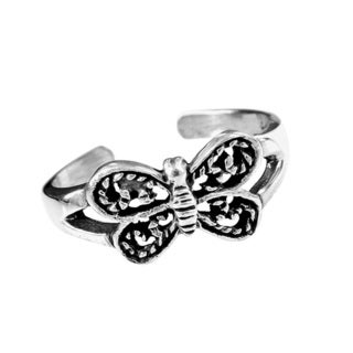 Adorable Detailed Butterfly .925 Silver Toe or Pinky Ring (Thailand)