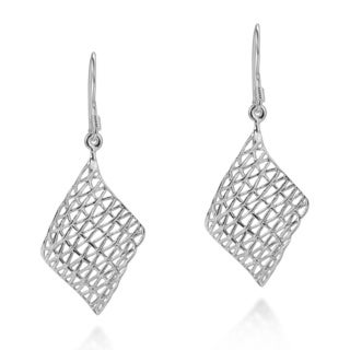 Handmade Chic Woven Net Design .925 Sterling Silver Dangle Earrings (Thailand)