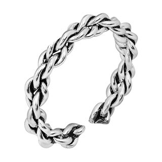 Handmade Twist Braid Style Sterling Silver Toe or Pinky Ring(Thailand)