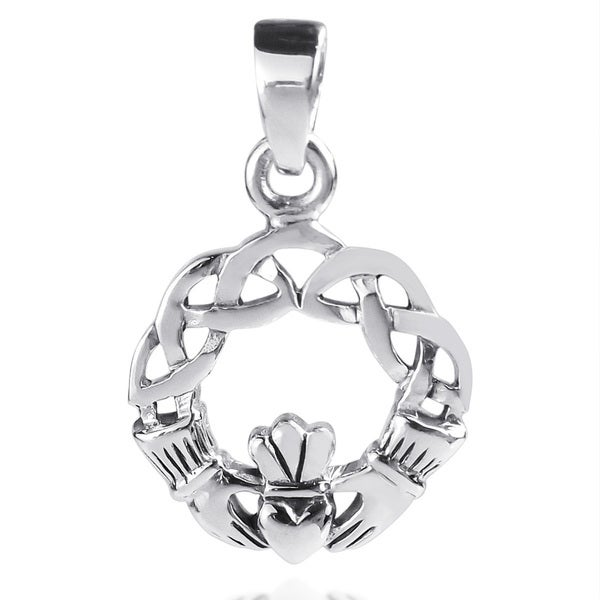 7d40deb8e Handmade Claddagh Heart Round Celtic Knot Sterling Silver Pendant (Thailand)