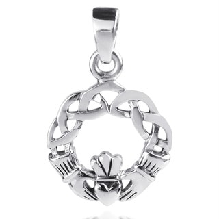 Handmade Claddagh Heart Round Celtic Knot Sterling Silver Pendant (Thailand)