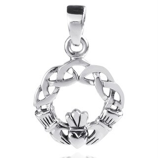 Claddagh Heart Round Celtic Knot Sterling Silver Pendant (Thailand)