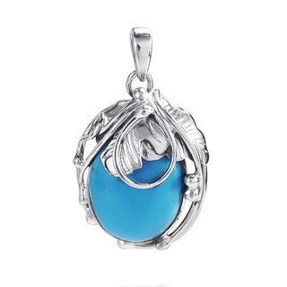 Vintage Style Oval Turquoise .925 Sterling Silver Pendant (Thailand)
