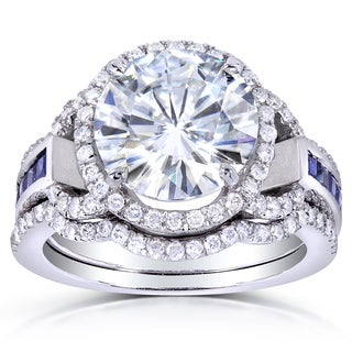 Annello by Kobelli 14k White Gold Round-cut Moissanite, Sapphire and 1/2ct TDW Diamond 3-piece Brida
