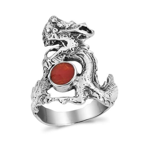 Handmade Mighty Fire Dragon Synthetic Coral Silver Ring (Thailand)