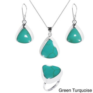 Handmade Enchanting Teardrop Stone .925 Silver Jewelry Set (Thailand) (3 options available)