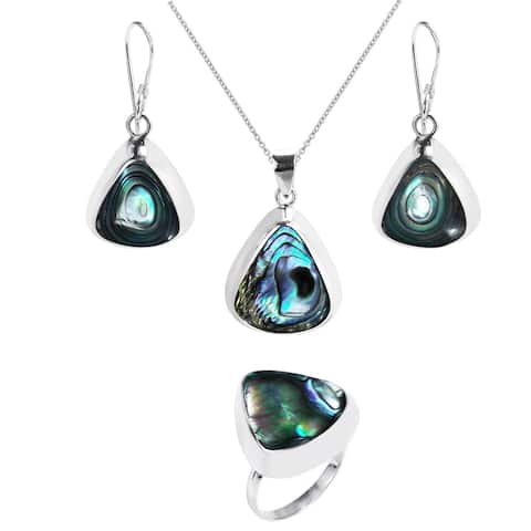 Handmade Enchanting Teardrop Stone Sterling Silver Jewelry Set (Thailand)
