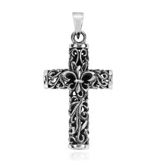 Double Sided Filigree Fleur de Lis Cross 925 Silver Pendant (Thailand)
