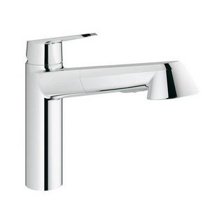 Grohe Starlight Chrome Eurodisc Cosmopolitan Pull-out Spray Kitchen Faucet