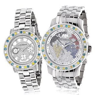 Luxurman White/ Yellow/ Blue Diamonds 'His and Hers' Watch Set with Metal Bands and Extra Leather St