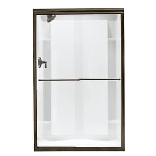 Finesse Frameless Bypass Shower Door in Deep Bronze with Clear Glass
