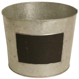 Wald Imports Set of 6 Round Galvanized Metal Planters with Chalkboard