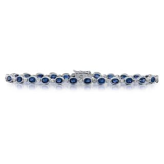14k White Gold Sapphire Diamond Bracelet