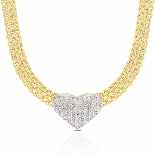 Finesque Gold Overlay Diamond 1/2ct TDW Diamond Heart Necklace (I-J, I2-I3)