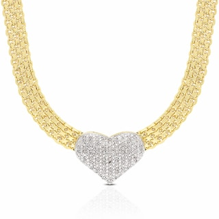 Finesque Gold Overlay Diamond 1/2ct TDW Diamond Heart Necklace