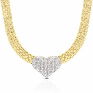 Finesque Gold Overlay Diamond 1/2ct TDW Diamond Heart Necklace