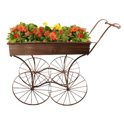 Wald Imports Retro Metal Rolling Display Cart