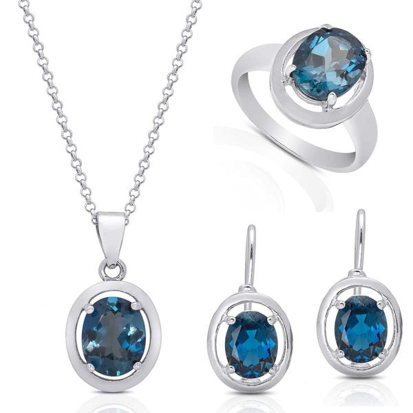 Dolce Giavonna Red Bow Gift Box Sterling Silver London Blue Topaz Earring Necklace Ring