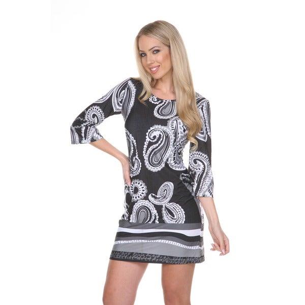 White Mark Women's 'Darlyne' Bell Sleeve Mini Dress