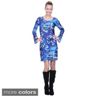 White Mark Women's 'Juliana' Long Bell Sleeve Dress