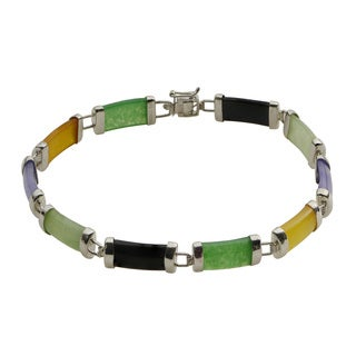 Sterling Silver Multi-colored Jade Gemstone 8-inch Bracelet