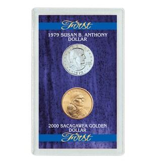 American Coin Treasures First Year 1979 Susan B. Anthony Dollar and 2000 Sacagawea Dollar Set