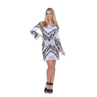 White Mark Women's 'Isabelle' Bell Sleeve Shift Dress