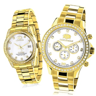 Luxurman Yellow Gold-plated 'His and Hers' Diamond Analog Watch Set with Metal Bands and Extra Leath